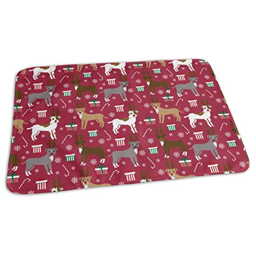 SMALL - Pitbull Reindeer - Snowflake, Candy Cane, Holiday, Christmas Present Dogs - Burgundy Baby Portable Reusable Changing Pad Mat 19.7x27.5 inches