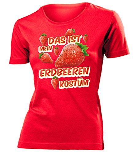 Kostüm Erdbeer - Erdbeeren Kostüm Kleidung 1719 Damen T-Shirt Frauen Karneval Fasching Faschingskostüm Karnevalskostüm Paarkostüm Gruppenkostüm Rot XXL