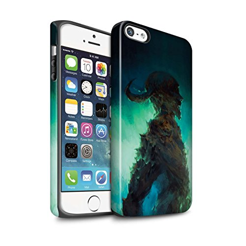 Offiziell Chris Cold Hülle / Matte Harten Stoßfest Case für Apple iPhone SE / Kriegsheld/Warlock Muster / Dämonisches Tier Kollektion Gehörnter Dämon