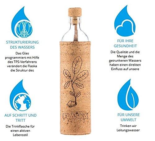 Flaska Trinkflasche Natural Cork New Beginning - Wasserflasche Glasflasche + 2 Korken