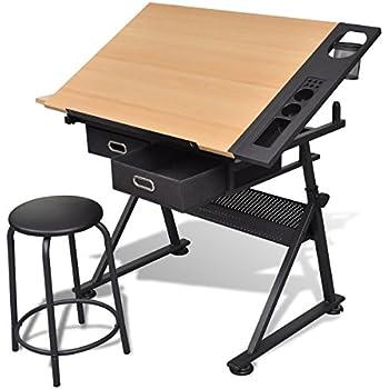 vidaXL Schreibtisch Architektentisch Zeichentisch Bürotisch Arbeitstisch Tisch Hocker