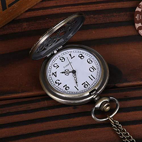 DAYUFEI 1 STÜCKE Vintage Steampunk Bronze Design Taschenuhr Quarz Anhänger Halskette Geschenk für Männer und Frauen Punk Style Zubehör, A