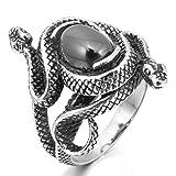 MunkiMix Acero Inoxidable Anillo Ring Ágata El Tono De Plata Negro Serpiente Snake Hueco Filigree Filigrana Abierto Talla Tamaño 17 Hombre