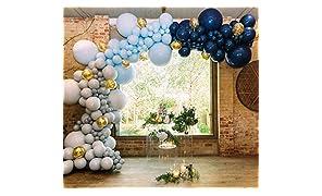 PuTwo Bleu Gris Ballon, 50pcs 12 Pouces Bleu Ciel Ballon Baudruche Bleu Marine Gris Ballons Latex pour Decoration Petit Prince, Decoration Bapteme Garcon, Deco Anniversaire Garcon, Decoration Marine