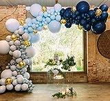 Colore:palloncini grigi, palloncini blu scuro, palloncini blu baby e palloncini coriandoli oro Materiale:palloncini in lattice Il pacchetto include 50 palloncini in lattice da 12 pollici: 15 x palloncini opachi, palloncini grigi; 10 x palloncini blu ...