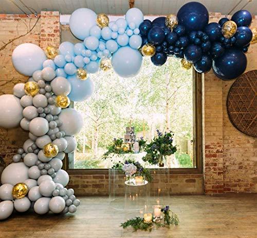 PartyWoo Luftballons Grau Blau, 50 Stück Marineblau Luftballons, graue Luftballons, hellblaue Luftballons und Konfetti Luftballons Gold, Ballons Blau Grau für Baby Shower Junge, Deko Geburtstag Junge