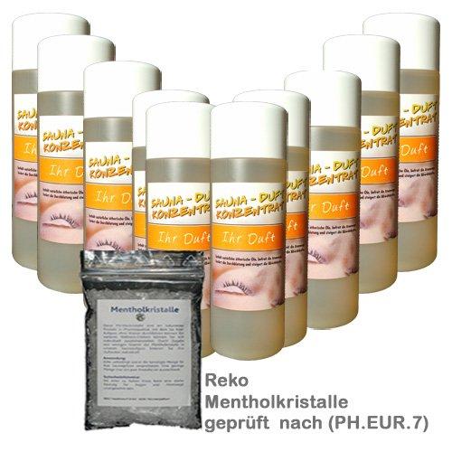 Saunaaufguss-Set 10 x 200 ml Warda Saunaduftkonzentrat (freie Duftwahl) plus 25 g Mentholkristalle pharmazeutisch geprüft