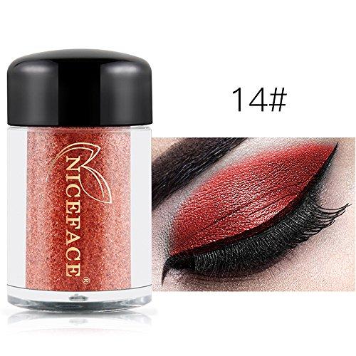 Vovotrade Heiß !! NICEFACE 17 Farben glänzende Augenschatten Make-up Wasserdichte Perle Metallic Lidschatten (Silber Metallic Up Make Palette)