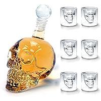 Amzdeal Skull Glas Flasche, Totenkopf Flasche 350ml mit 6 Schädel Gläser 75ml, Schädelflasche mit Whisky Vodka oder Schnapsgläser