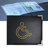PU Leather Disabled Badge Holder with Metal Corner Hologram Safe Parking Permit Display 16.5 x 13.5 cm- Black