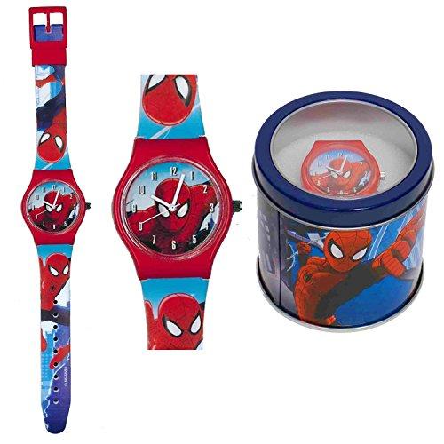 spiderman-orologio-analogico-da-polso-scatola-latta-41443-rosso