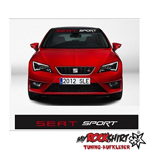 Seat Sport plus Blendstreifen 130cm Sonnenschutz Scheibe Aufkleber Frontscheibe Aufkleber Tuning Scheibe Lack TYP-MRS215 `+ Bonus Testaufkleber