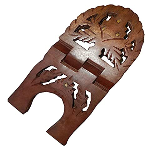 Porte-livre 33cm pliable en bois de shisham Décoration feuille de vigne intérieure Artisanat indien