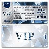 (30 x) Einladungskarten Geburtstag VIP Party Edel Blau Ticket Karte Einladungen