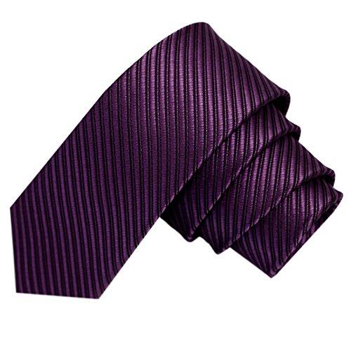GASSANI Lilane schmale dünne 5cm Krawatte gestreift | Skinny Violette Herrenkrawatte zum Sakko Anzug | Schlips Binder einfarbig mit Streifen