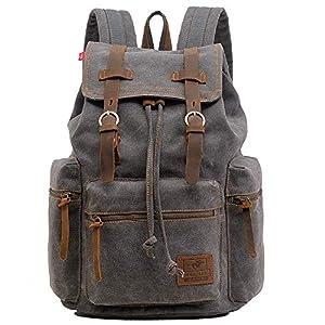 514aDRxvucL. SS300  - Vintage Mochila de Lona de Marcha Bolsa Escolar Uní Mochilas Sport para Hombres Mujer Casual Marrón Oscuro