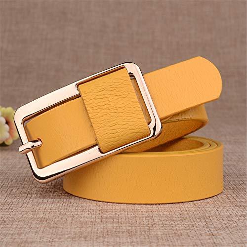 WJPDELP-PD Cintura in Pelle per Donna, Tempo Libero, in Pelle, Giallo, 105 cm