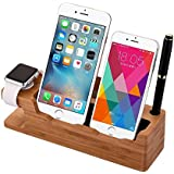 iPhone Charger Stand, XPhonew Natural Bamboo Multifunction Charge Stand Charging Dock Station/Docking /Cradle/ Holder for iPhone X 8 Plus 7 Plus 7 6 6S Plus 5S 5 Apple Watch 2 iWatch Samsung Galaxy S8 Plus S6 Edge Plus S7 Edge S5 S6 Note 3 4 5 LG HTC Sony Huawei Xiaomi Oneplus Meizu Smartphones and Tablets