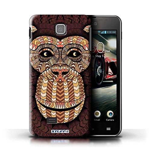 Kobalt® Imprimé Etui / Coque pour LG Optimus F5/P875 / Loup-Vert conception / Série Motif Animaux Aztec Singe-Orange