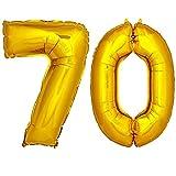 DekoRex® Folienballon Zahlenballon Heliumballon Luftballon Geburtstag Deko 100cm Zahl Gold 70