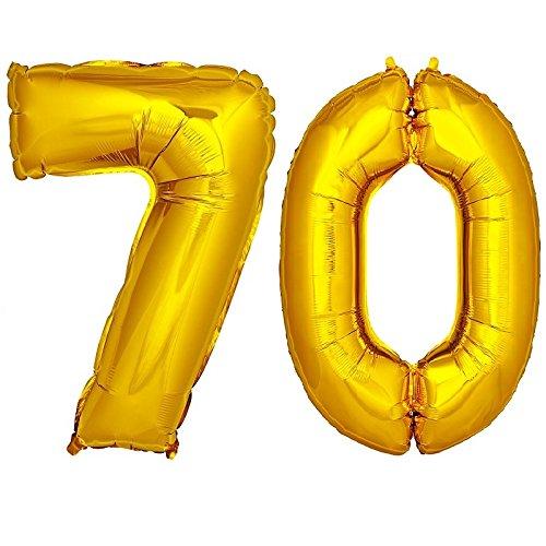 Preisvergleich Produktbild DekoRex ® Folienballon Zahlenballon Heliumballon Luftballon Geburtstag Deko 120cm Zahl Gold 70