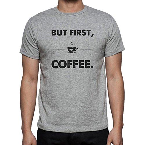 But First Coffee Wooden Herren T-Shirt Grau