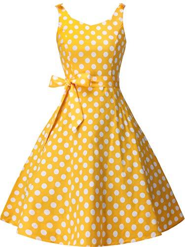 FAIRY COUPLE Vestido de Fiesta de los años 50, con Lazo, Retro, con Lunares, Estilo Rockabilly, para Mujer - Amarillo - XX-Large