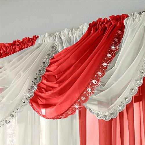 Ideal Textiles Juwelenbesetzt Kristall Glanz Voile Vorhang Girlande, Fertig Gemacht Bling Beute, Pailette Edelstein Funkeln Trimmen Voile Platten - Rot, 22