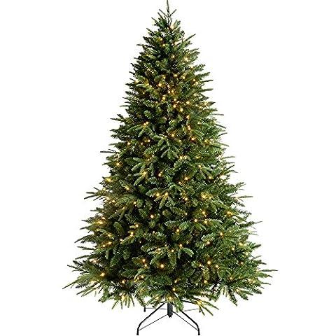 WeRChristmas Windsor multifonction de sapin de sapin de Noël avec 300LED Blanc chaud/8contrôleur de réglage facile et branches articulées, plastique, Vert, 1,5m, Plastique, Green, 8 ft/ 2.4 m