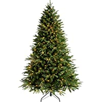 WeRChristmas Pre-Lit Windsor Fir Multi-Function Christmas Tree with 500 Warm White LED Lights - 7 feet/2.1 m, Green