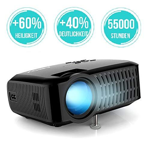 Beamer,3000 Lumen ABOX 2018 Aktualisierte Mini LED Projektor,+60{a7cdbedb78b00ea2a0744c895e338c4747b923da4b38dc039391e8397a038c97} Helligkeit Full HD 1080P,unterstützt HDMI USB SD VGA AV für Amazon Firestick,Laptop,Smartphone perfekt für Fußballspiele,Filme