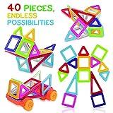Tomi Toys Blocchi Costruzione Magnetici – Set Costruzioni da 40 Pezzi – Costruzioni Magnetiche Deluxe – Eccellente per Costruire e Unire – Aumenta la Creatività e l'Immaginazione dei Bambini – Non Tossico – 6 Colori – Molteplici Forme – Gratis il Libro Idee
