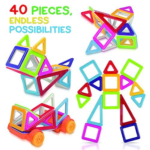 Tomi Toys Bloques de Construcción Magnéticos – Set de Construcciones de 40 Piezas – Construcciones Magnéticas Deluxe – Genial para Construir y Unir – Impulsa la Creatividad y la Imaginación de los Niños – No Tóxico – 6 Colores – Múltiples Formas – Libro de Ideas Gratuito