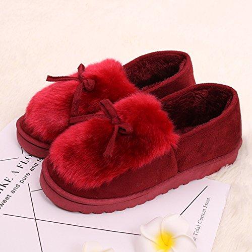 Fankou inverno scarpe di cotone con cotone pantofole home femmina indoor e outdoor giovane caldo - non slip di cotone impermeabile scarpe Dunkelgrau