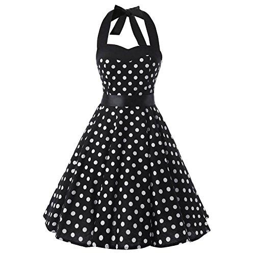 iHAIPI - Damen 50er Jahre Rockabilly Kleid Vintage Ärmelos Eine Vielzahl von Farben Tupfen und eine Vielzahl von Farbe Blumen Arten 20 (02. EU 38 (M), 001 Schwarz Hintergrund Weiß (Jahre Hintergrund 60er)