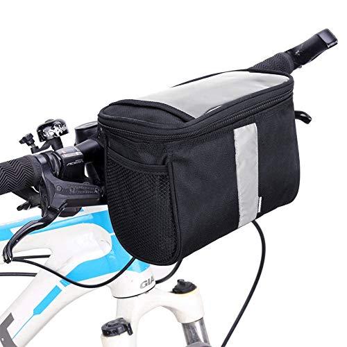 Betuy Fahrrad Lenkertasche Wasserdicht, 3.5L Fahrradtasche Handy Rahmentasche Gepäckträger Tasche mit Reflektierenden Streifen und PVC Touchscreen für MTB/Fahrrad Karte Telefon Wasserflasche - Aluminium-sicherheits-geldbörse