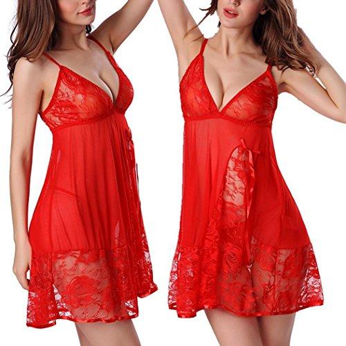 Damen Sexy Lingerie Negligee Dessous Nachtkleid mit G-String Erotik Reizwäsche sexy Unterwäsche Transparent Spitze Bodydoll