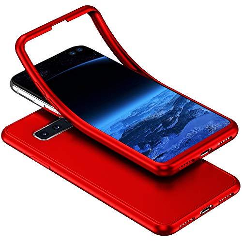 Herbests Kompatibel mit Samsung Galaxy S10 Handyhülle 360 Grad Case Full Body Silikon Schutzhülle Double Side Cover Soft Case Hülle Beidseitiger Cover Vorne und Hinten Komplett Hülle,Rot Soft-side Case