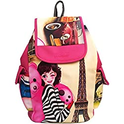 Alice PU Leather Casual School bag College Bag Shoulder Women Girls Bag With Girl print Backpack+Handbag(bkp45)