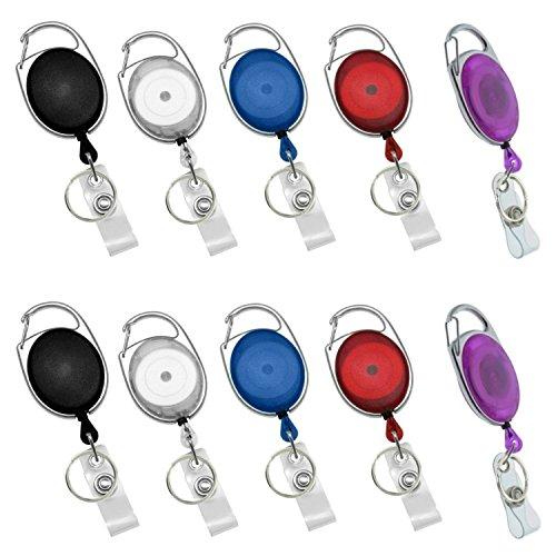 Einziehbare Karabiner-Badge-Rollen mit Schlüsselring und Befestigung für Ausweishalter, 10Stück