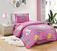 Kids Compressed Comforter 3Piece Set, Single Size, Yamm By Moon, Pink, Microfiber