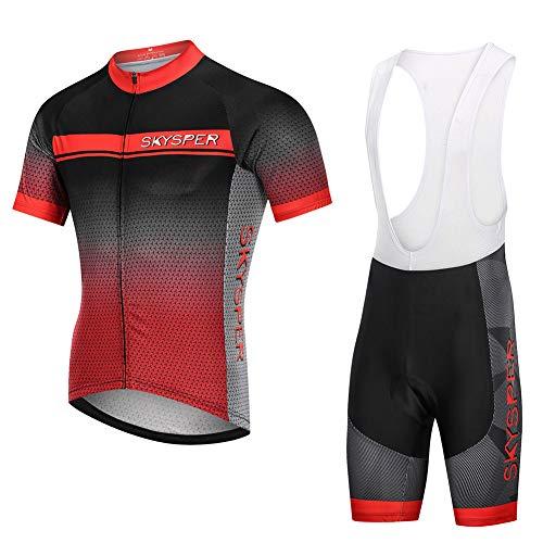 04ddbaeeae68a4 SKYSPER Completo da Ciclismo Uomo, Abbigliamento da Ciclismo Estivo Maglia  Maniche Corte +.
