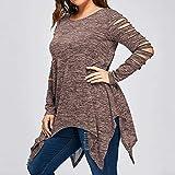 Geili Damen Langarmshirt Große Größen O-Ausschnitt Aushöhlen Lange Hülsen Tshirt Mode Frauen Asymmetrisch Saum Bluse Tops Oberteil Hemd in 6 Farben L-5XL
