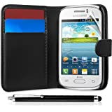 Black Wallet Pocket Case Cover Samsung Galaxy Young S6310 Includes Touch Screen Stylus, Screen Protector and Polishing Cloth