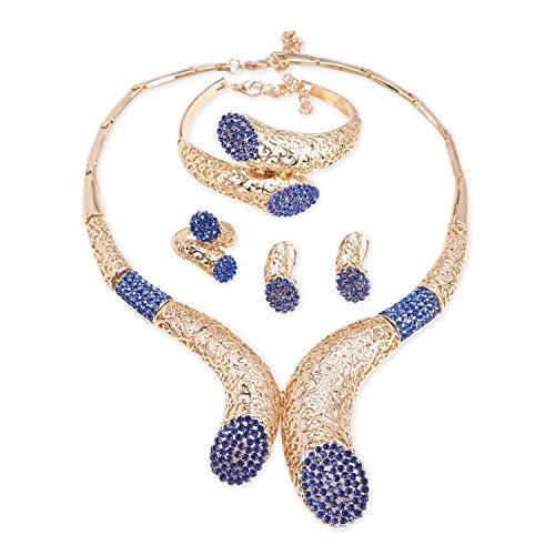 18K Vergoldet Blau Mode Damen Ohrringe Halskette Schmuckset Geschenk Für Fraunen & ()