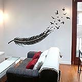 Abstracto plumas en pájaros vinilo de pared adhesivo personalizado su color (Negro)