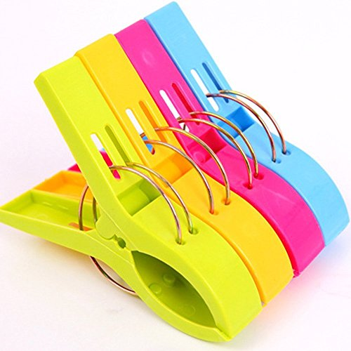 Jooks 4 Stück große Wäscheklammern Kunststoff Clips Quilt Clips für tägliche Wäsche