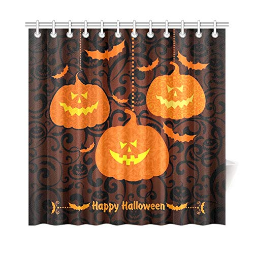 Kostüm Flyer Kinder Party - QuqUshop Wohnkultur Bad Vorhang Happy Halloween Halloween Kürbis Polyester Stoff Wasserdicht Duschvorhang Für Badezimmer, 72X72 Zoll Duschvorhang Haken Enthalten