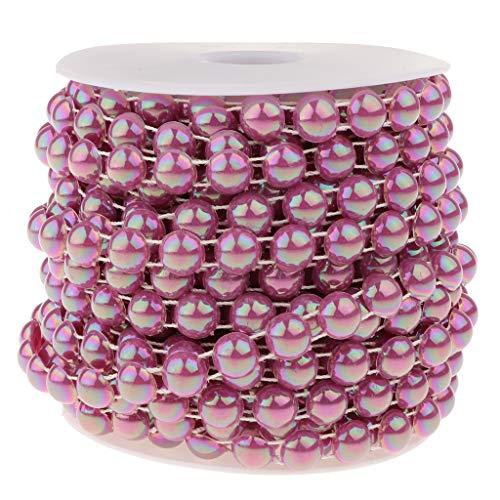Fenteer Chaîne Perles Demi-Cercle Perles Artificielles en ABS pour Décorer Abat-Jour, Tables, Bougies, Vases, Présentoirs à Gâteaux - Violet