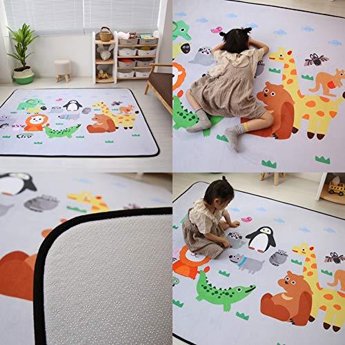 Hzl Grand bébé rampant tapis Tapis de jeu pour bébé Tapis pliable en mousse antidérapant Rectangle Jouer Mats Animal Modèle 195x150cm,19